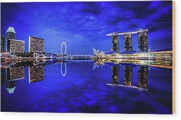 Blue Hour At Marina Bay Wood Print