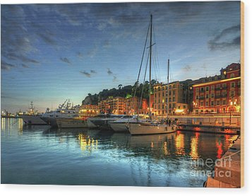 Blue Hour At Port Nice 2.0 Wood Print by Yhun Suarez