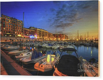 Blue Hour At Port Nice 1.0 Wood Print by Yhun Suarez