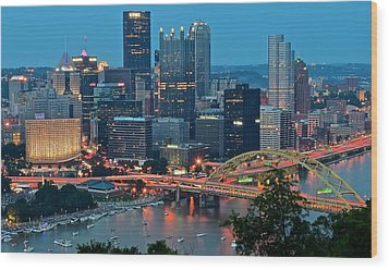 Blue Hour In Pittsburgh Wood Print