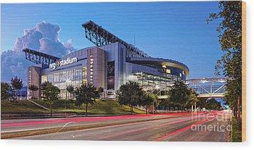 Blue Hour Photograph Of Nrg Stadium - Home Of The Houston Texans - Houston Texas Wood Print