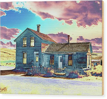 Wood Print featuring the photograph Blue House by Jim and Emily Bush