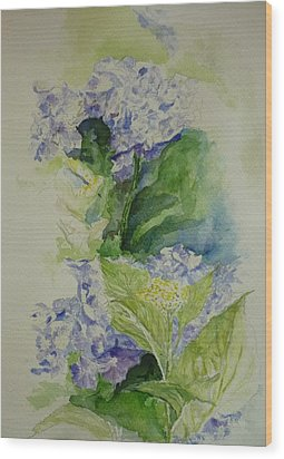 Blue Hydrangea Wood Print by Lizzy Forrester