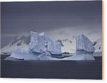Blue Ice Antarctica Wood Print