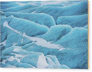 Blue Ice Svinafellsjokull Glacier Iceland Wood Print by Matthias Hauser