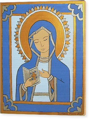 Wood Print featuring the painting Blue Icon by Stephanie Moore