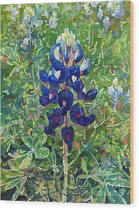 Wood Print featuring the painting Blue In Bloom 2 by Hailey E Herrera