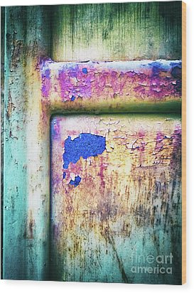 Wood Print featuring the photograph Blue In Iron Door by Silvia Ganora
