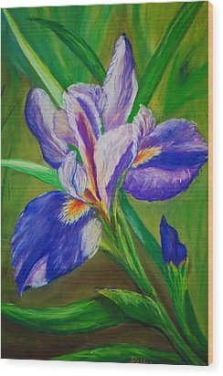 Wood Print featuring the painting Blue Iris by Debbie Baker