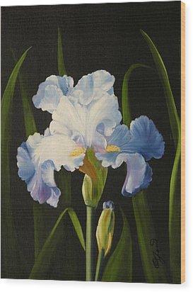 Blue Iris Wood Print by Joni McPherson