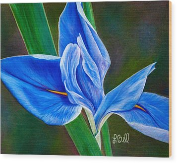 Wood Print featuring the painting Blue Iris by Laura Bell