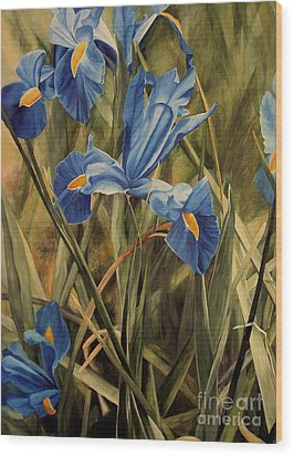 Wood Print featuring the painting Blue Iris by Laurie Rohner