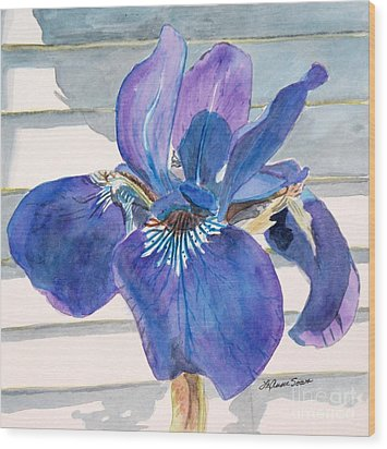 Wood Print featuring the painting Blue Iris by LeAnne Sowa