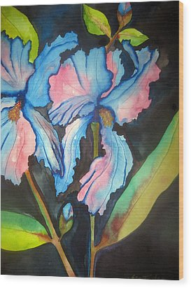 Wood Print featuring the painting Blue Iris by Lil Taylor
