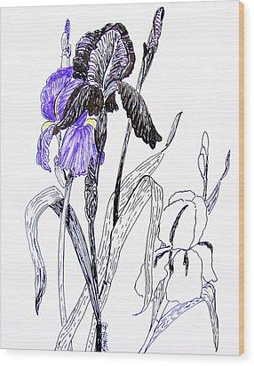 Blue Iris Wood Print by Marilyn Smith