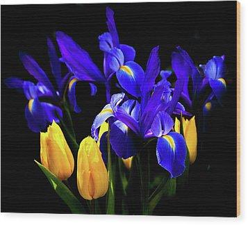 Blue Iris Waltz By Karen Wiles Wood Print by Karen Wiles