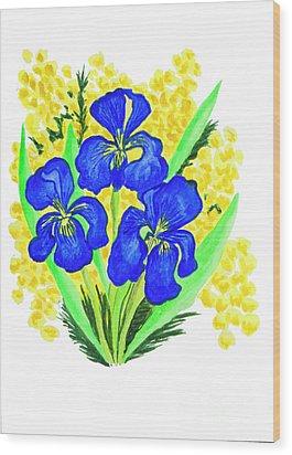 Blue Irises And Mimosa Wood Print