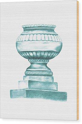 Wood Print featuring the digital art Blue Jardiniere  by Elizabeth Lock