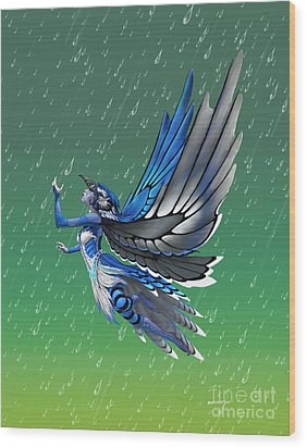 Wood Print featuring the digital art Blue Jay Fairy by Stanley Morrison