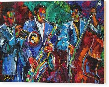 Blue Jazz Wood Print by Debra Hurd
