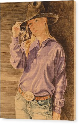 Blue Jean Cowgirl Wood Print