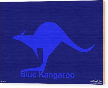 Blue Kangaroo Wood Print by Asbjorn Lonvig