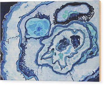 Wood Print featuring the painting Blue Lace Agate I by Ellen Levinson