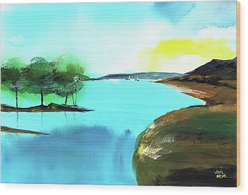Wood Print featuring the painting Blue Lake by Anil Nene