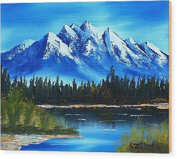 Blue Lake Wood Print by Roy Gould