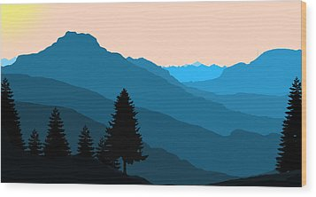 Blue Landscape Wood Print