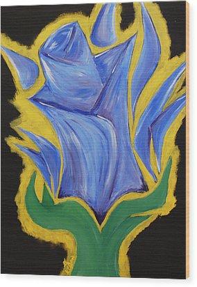 Blue Life Wood Print by Kayon Cox
