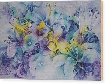 Blue-lilies Wood Print by Nancy Newman