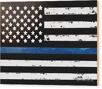 Wood Print featuring the painting Blue Line Flag by Denise Tomasura