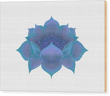 Wood Print featuring the digital art Blue Lotus by Elizabeth Lock