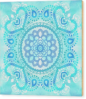 Wood Print featuring the painting Blue Lotus Mandala by Tammy Wetzel