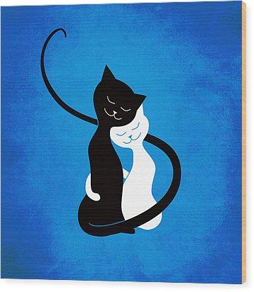 Blue Love Cats Wood Print