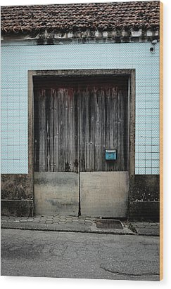 Wood Print featuring the photograph Blue Mailbox by Marco Oliveira