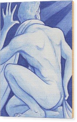 Blue Man Study Wood Print by Amy S Turner