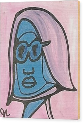 Blue Man With Glasses Wood Print by Jimmy King