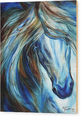 Blue Mane Event Equine Abstract Wood Print by Marcia Baldwin