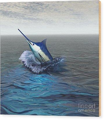 Blue Marlin Wood Print by Corey Ford