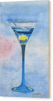 Blue Martini Wood Print by Arline Wagner
