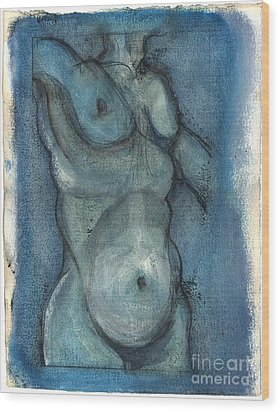 Wood Print featuring the painting Blue Marvel, Superhero - Male Nude by Carolyn Weltman