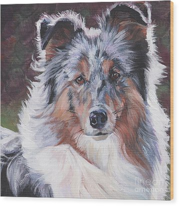 Wood Print featuring the painting Blue Merle Sheltie by Lee Ann Shepard