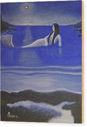 Blue Mermaid Wood Print by Chris Boone