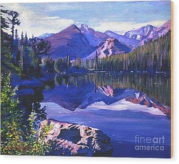 Blue Mirror Lake Wood Print by David Lloyd Glover