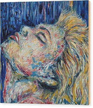 Blue-mo Wood Print by Joseph Lawrence Vasile