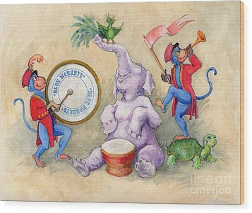 Wood Print featuring the painting Blue Monkeys Circus by Lora Serra