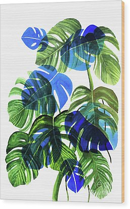 Blue Monstera Wood Print by Ana Martinez