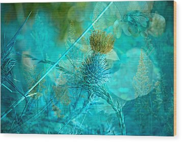 Blue Montage Wood Print by Bonnie Bruno